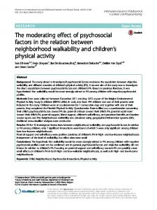 The moderating effect of psychosocial factors in the ... - Springer Link
