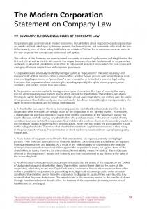 The Modern Corporation Statement on Company Law - SSRN papers