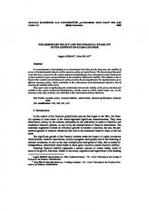 THE MONETARY POLICY AND THE FINANCIAL STABILITY IN THE ...