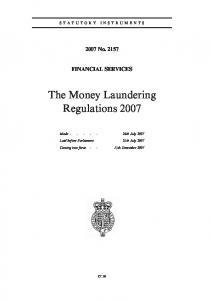 The Money Laundering Regulations 2007