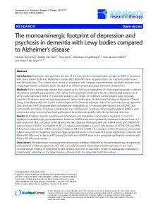 The monoaminergic footprint of depression and psychosis in dementia ...