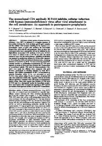 The monoclonal CD4 antibody M-T413 inhibits cellular infection with ...