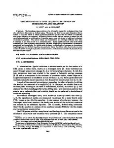 THE MOTION OF A THIN LIQUID FILM DRIVEN BY SURFACTANT ...