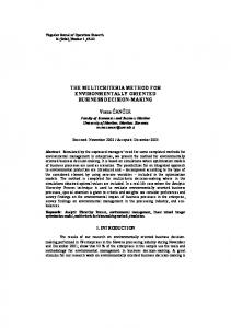 The multicriteria method for environmentally oriented business