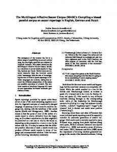 The Multilingual Affective Soccer Corpus - Association for ...