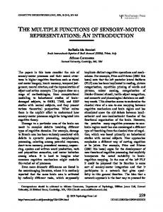 the multiple functions of sensory-motor ... - William James Hall