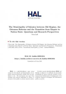 The Municipality of Salonica between Old Regime, the ... - Hal-SHS