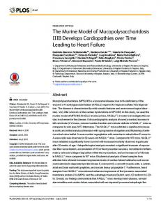The Murine Model of Mucopolysaccharidosis IIIB ... - Semantic Scholar