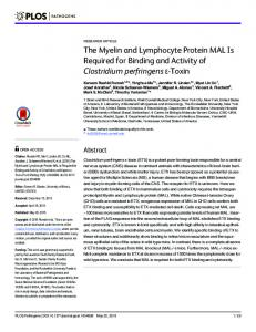 The Myelin and Lymphocyte Protein MAL is Required for ... - PLOS