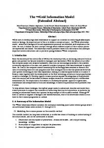 The myGrid Information Model (Extended Abstract) - CiteSeerX