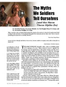 The Myths We Soldiers Tell Ourselves (and the Harm These Myths Do)