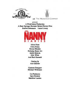 THE NANNY DIARIES - Twcpublicity.com