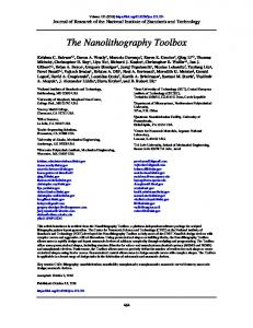 The Nanolithography Toolbox - NIST Page