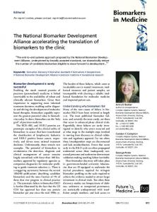 The National Biomarker Development Alliance ... - Future Medicine