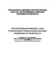 The national interest and the decline and fall of Indonesian ...