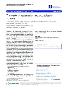 The national registration and accreditation scheme