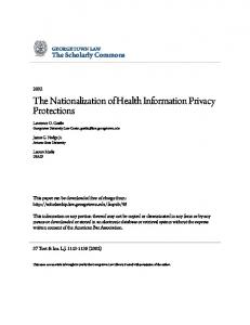 The Nationalization of Health Information Privacy ...