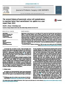 The natural history of pancreatic acinar cell cystadenoma - Journal of ...