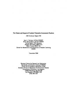 The Nature and Impact of Teachers' Formative Assessment ... - CRESST