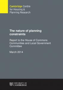 The nature of planning constraints - Parliament UK