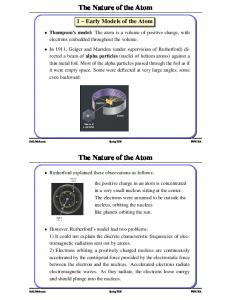 The Nature of the Atom The Nature of the Atom