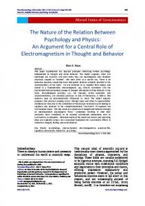 The Nature of the Relation Between Psychology ... - Semantic Scholar