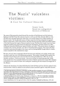 The Nazis' voiceless victims: - history in the making