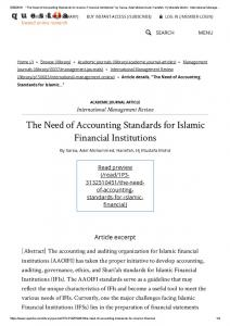 The Need of Accounting Standards for Islamic ...