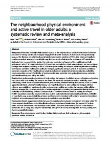 The neighbourhood physical environment and ... - Semantic Scholar