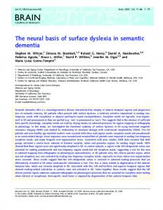 The neural basis of surface dyslexia in semantic ... - Oxford Academic