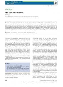 The new clinical leader - Wiley Online Library