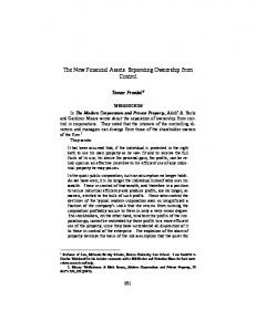 The New Financial Assets: Separating Ownership ... - Tamar Frankel