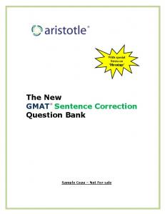 The New GMAT Sentence Correction Question Bank - Aristotle Prep