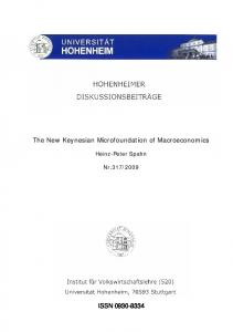 The New Keynesian Microfoundation of Macroeconomics ISSN ...
