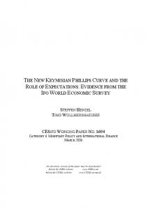 the new keynesian phillips curve and the role of expectations