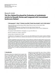 The New Method Developed for Evaluation of Anthelmintic Activity by ...