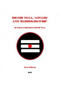 THE NEW YOGA AND 'KASHMIR SHAIVISM'
