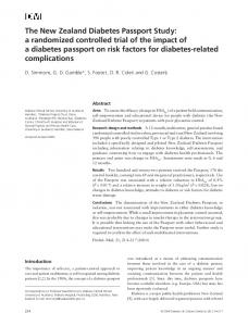 The New Zealand Diabetes Passport Study: a ... - Wiley Online Library