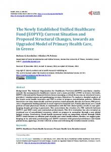 The Newly Established Unified Healthcare Fund (EOPYY) - Scientific ...