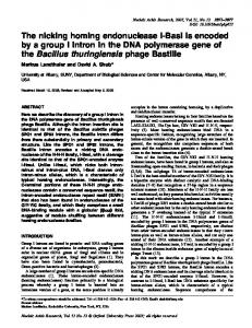 The nicking homing endonuclease I-BasI is encoded ... - BioMedSearch