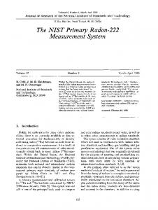 The NIST primary radon-222 measurement system - NIST Page