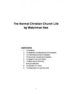 The Normal Christian Church Life by Watchman Nee - Fellowship of ...