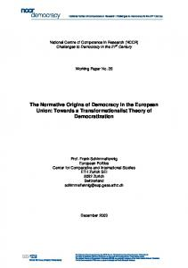 The Normative Origins of Democracy in the ... - NCCR Democracy