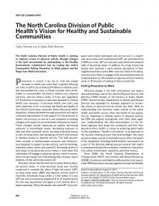 The North Carolina Division of Public Health's Vision for ... - NCIOM