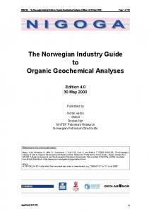 The Norwegian Industry Guide to Organic Geochemical Analyses