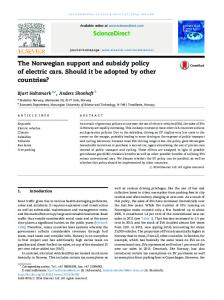 The Norwegian support and subsidy policy of electric cars ... - NTNU