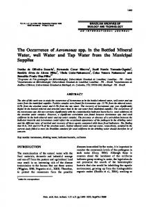The Occurrence of Aeromonas spp. in the Bottled Mineral ... - Scielo.br