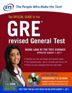 The Official Guide to the GRE Revised General Test - New Revised ...