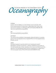 THE OFFICIAL MAGAZINE OF THE OCEANOGRAPHY SOCIETY