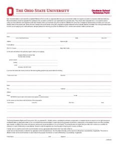 The Ohio State University Graduate School Reference Form